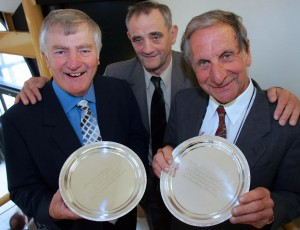 Nick Somerfield (right): Receives an award in 2005 from FUW president Gareth Vaughan